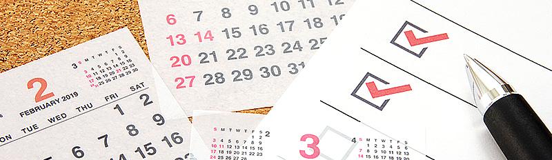 カレンダーとチェックリスト
